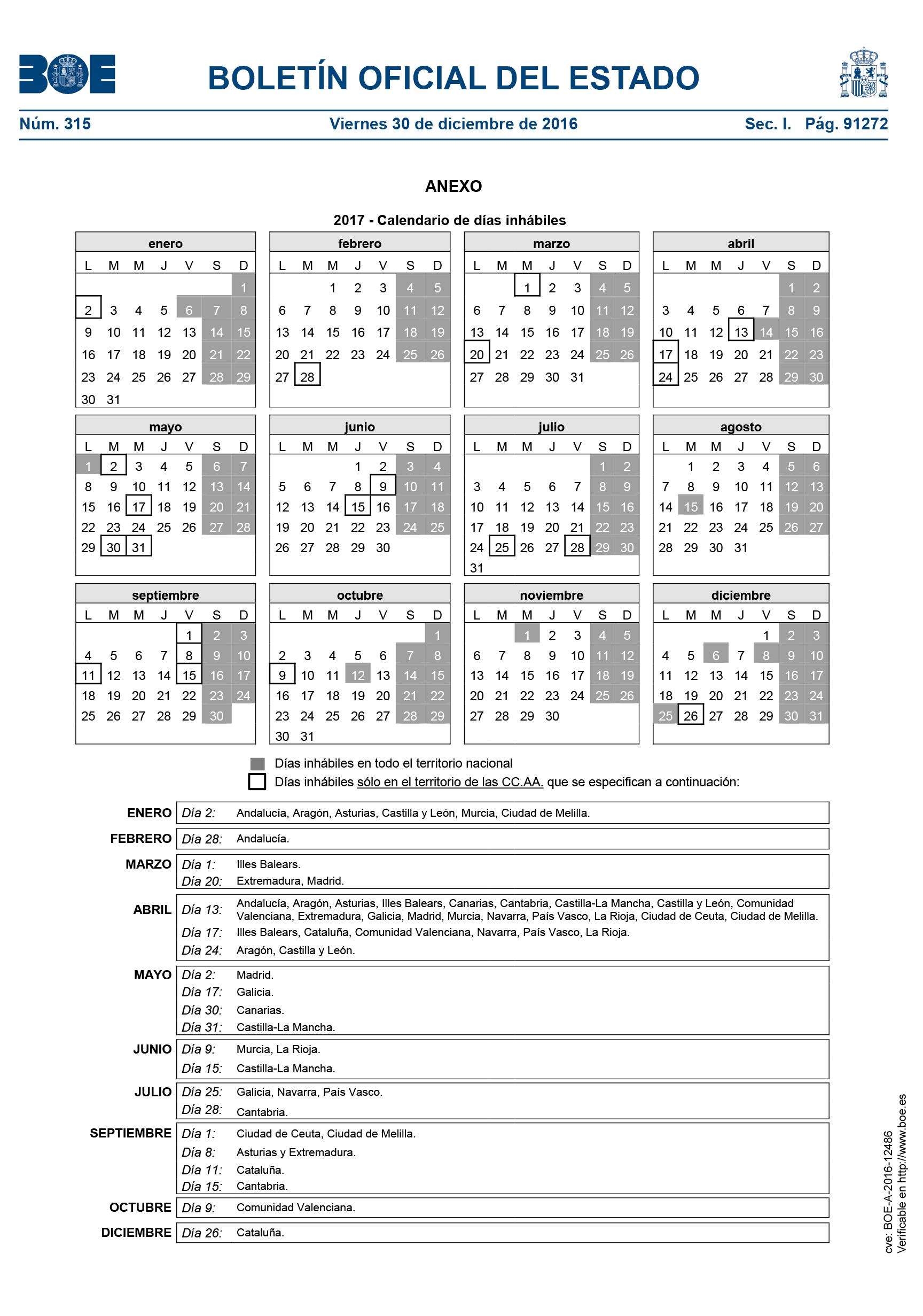 Boe Calendario.Calendario Laboral Y Dias Inhabiles 2016 Espana